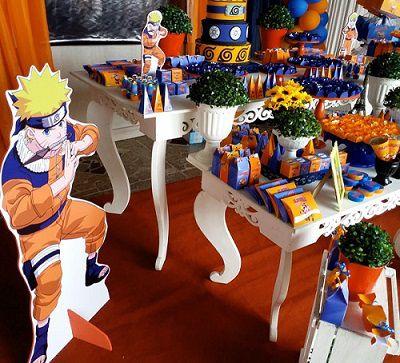 Decoração de aniversário tema Naruto.