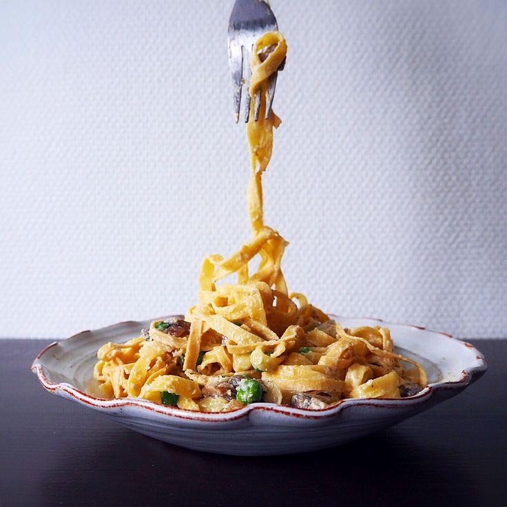 Pasta carbonara mushroom fresh peas / Carbonara svamp & färska ärtor