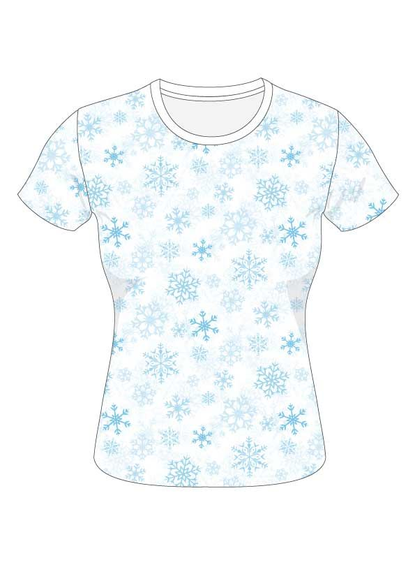 Ice crystal repeat pattern t-shirt for wintersportswear