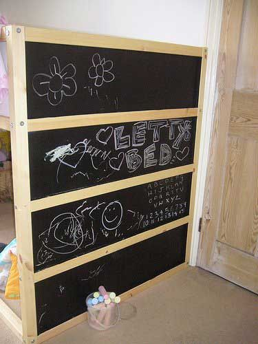 For Jack's Bed : Ikea Kura bed, blue panels painted with chalkboard paint…