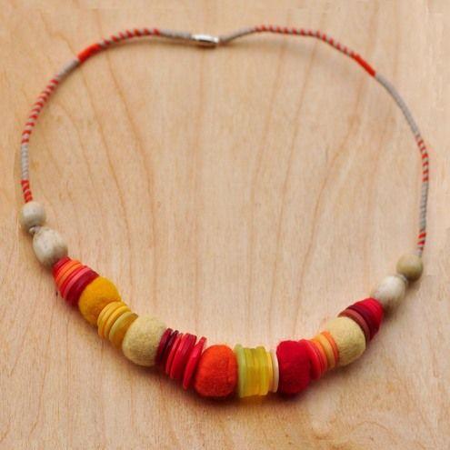 Felt balls buttons beads necklace