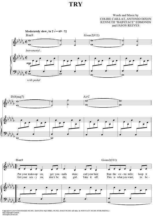 asher book try piano sheet music pdf