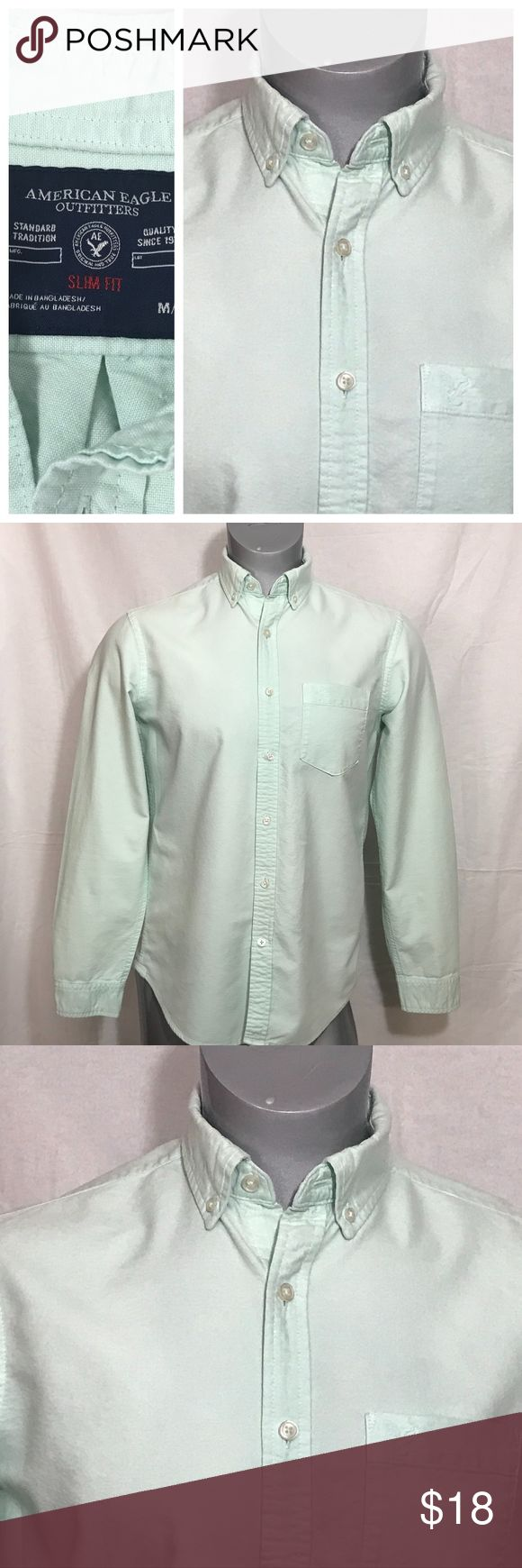 American Eagle Outfitters Men's Mint Shirt Medium Awesome Eagle Outfitters Men's Button Down / Long Sleeve Shirt  Color: Mint Size: Medium  Type: Slim Fit Gently pre-owned condition - thoroughly checked - no tears, holes, snags, fading or stains. (Please see photos in listing) OFFERS ACCEPTED :) Please submit your BEST offer to us. We look forward to satisfying you as a customer. Let's do business! American Eagle Outfitters Shirts Casual Button Down Shirts