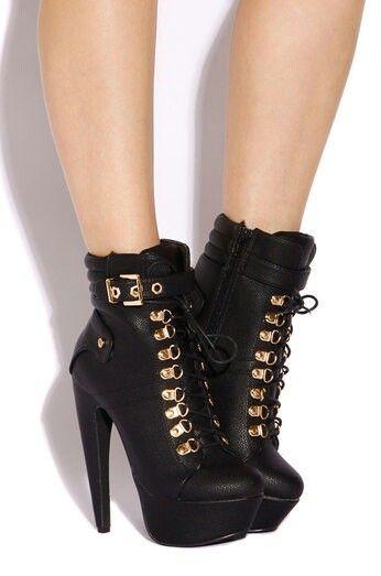 Creative Womens Heeled Zip Booties High Heels Stiletto Shoes Platform Ankle