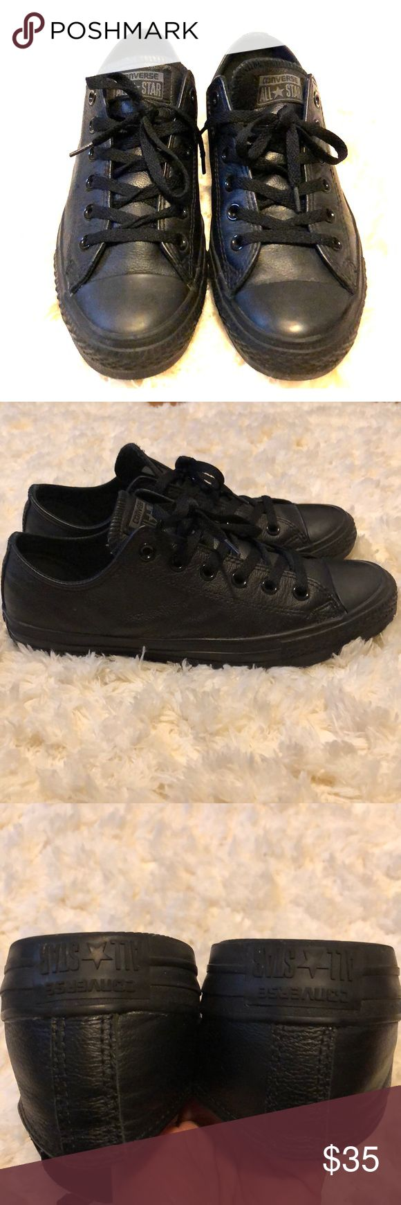 Black Leather Converse Black Leather Converse women's size 9.5. Converse Shoes Sneakers