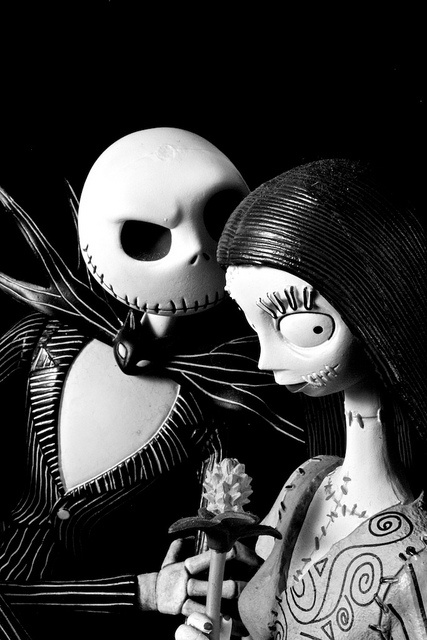 "The Nightmare Before Christmas. Jack and Sally. ""And will we ever, end up together? No, I think not. It's never to become, for I am not the one."""