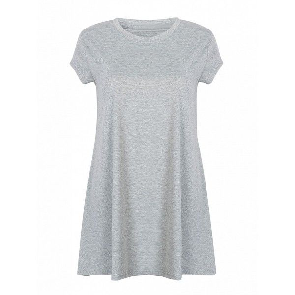 Choies Gray Round Neck Short Sleeve Loose Dress ($13) ❤ liked on Polyvore featuring dresses, grey, loose fit dress, grey dress, round neck dress, loose fitting dresses and loose dress
