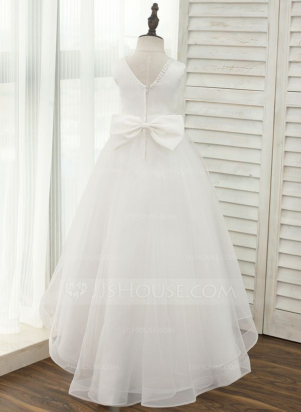 e39ec50f15 A-Line Princess Asymmetrical Flower Girl Dress - Satin Tulle Sleeveless  Scoop Neck With V Back