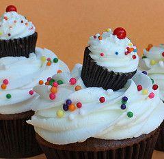 mini reeses on top as mini cupcake