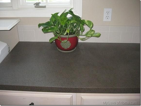 DIY Spray Paint Laminate Countertops  use Krylon fusion for base coat and american accents for stone look  Note author says the spray on poly did not hold up well use brush on poly