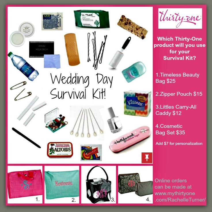 Thirty One Wedding Gift Ideas: Wedding Day Survival Kit. Use A Thirty-One Product To Pull
