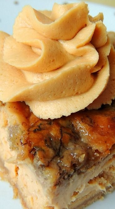 Bananas Foster Cheesecake Bars with Caramel Rum Frosting