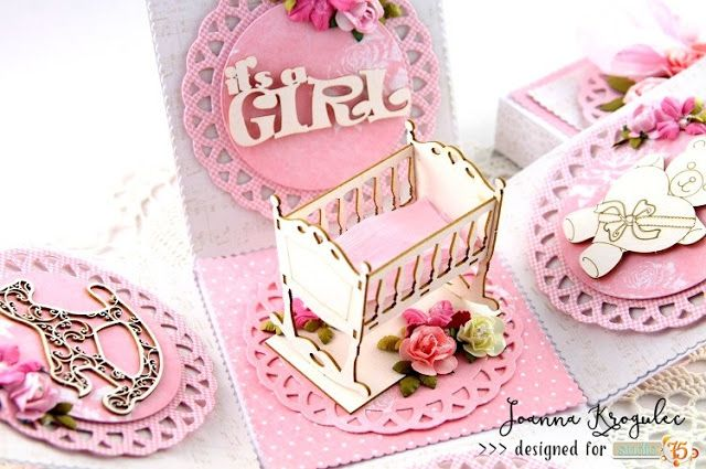 Beautiful and sweet exploding box for a baby girl with Primo Rosa collection