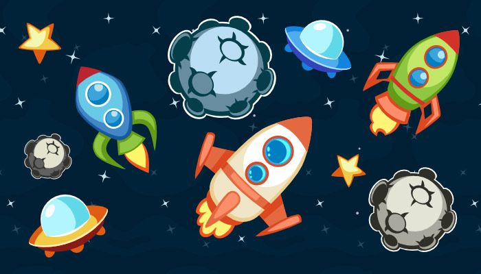 Asteroid Game Pack contains: 1. One seamlessly scrollable in two directions background, 5 variations of asteroids, 4 variations of ufo, a star, 3 variations of ships (with 3 frames of animation each), and 3 frames of explosion. You can find them in the source files in SVG folder (format: SVG, EPS) 2. PNG images of the pack with transparent background 3. Readme.txt file