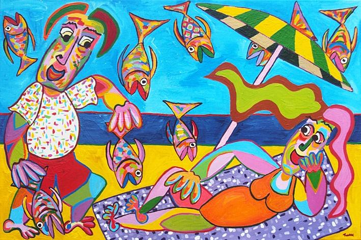 Twan de Vos; Etenstijd (acryl op linnen - 80 x 120 cm)