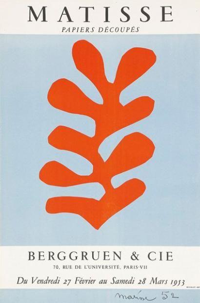Henri MATISSE Galerie Berggruen - Papiers Découpés, 1953. Affich