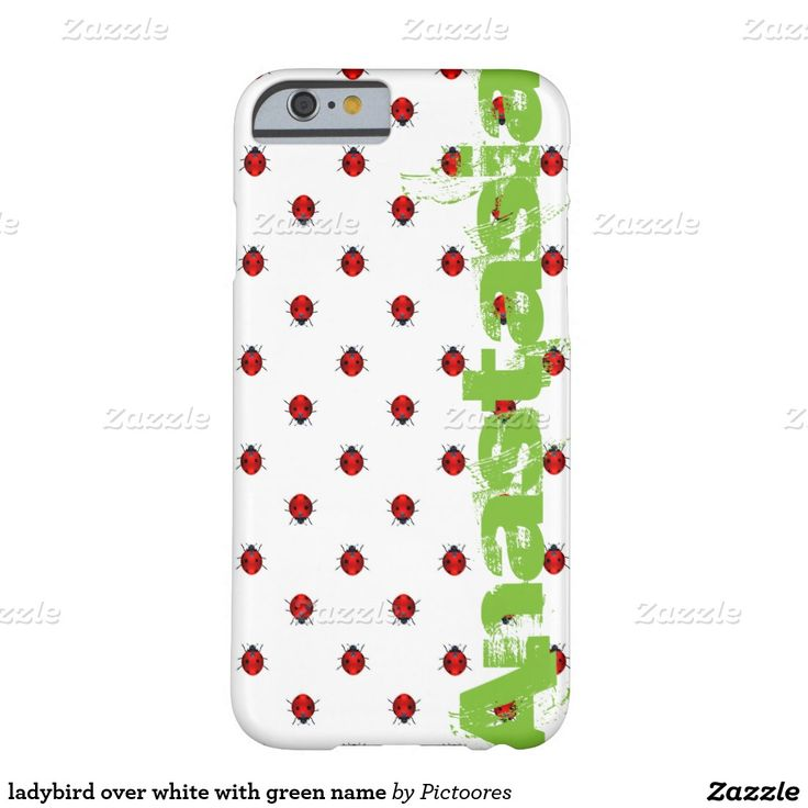 ladybird over white with green name barely there iPhone 6 case