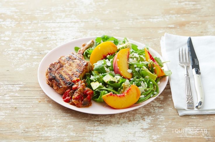 Pork Chops with Peach and Feta Salad on the 8-Week Program – I Quit Sugar I'm trying to Pin It To Win It! To guarantee a spot on the next I Quit Sugar Program, CLICK THIS IMAGE