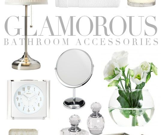 White and silver bathroom accessories