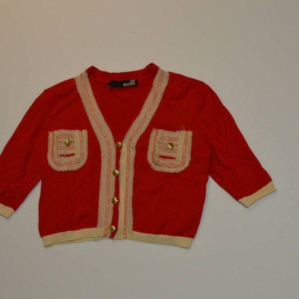 chaqueta de punto corta roja con mangas cortas y ribetes en beige con bolsillos en parte delantera Moschino - Marketplace MitiendaVIP