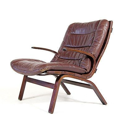 Retro Vintage Danish Design Rosewood Farstrup Leather Lounge Chair Armchair 70s