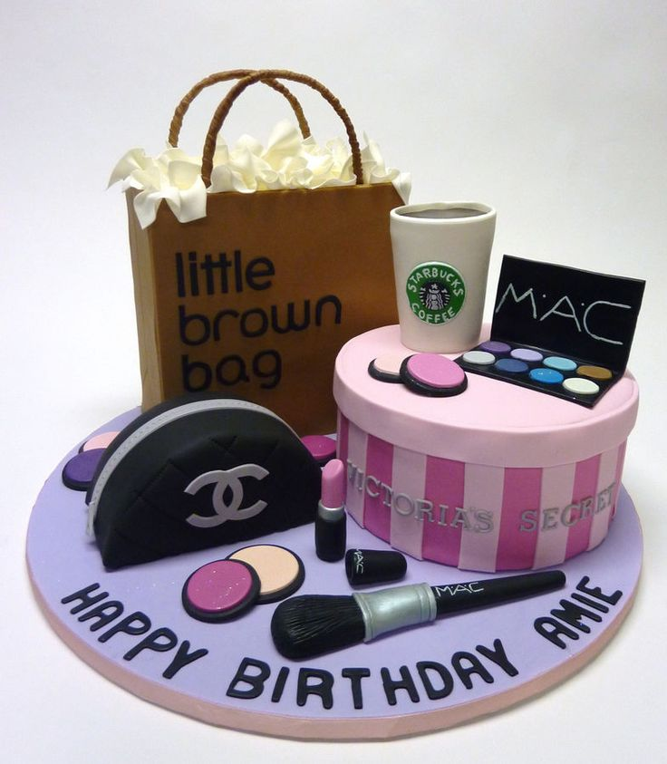Eclectic Cake Collection:The Victoria's Secret box, the Bloomingdale's shopping bag and the Chanel makeup purse are all cake. The Starbucks cup is RKT covered in fondant. The makeup and makeup brush are gumpaste. Thanks for looking!