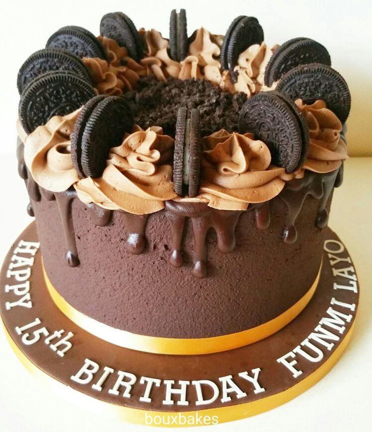 Chocolate fudge cake with chocolate buttercream topped with dark chocolate drizzle, chocolate buttercream and oreo cookies