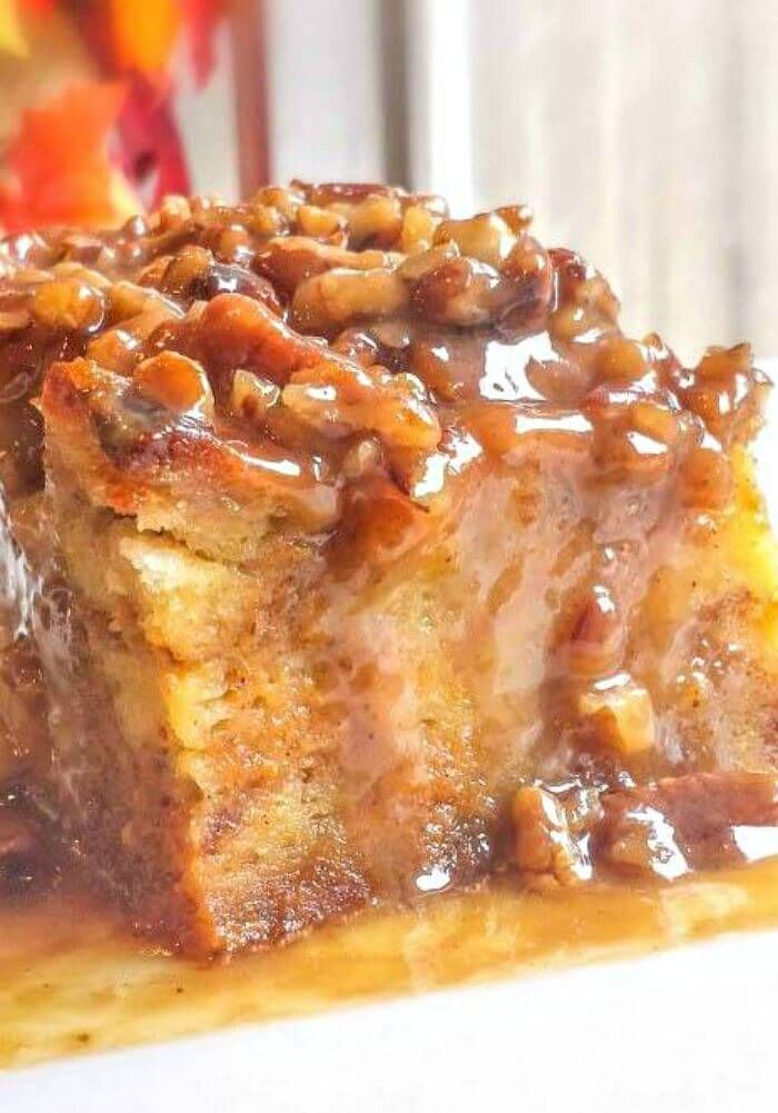 Pumpkin Praline Bread Pudding makes a fabulous fall or Thanksgiving dessert. ~ http://FlavorMosaic.com