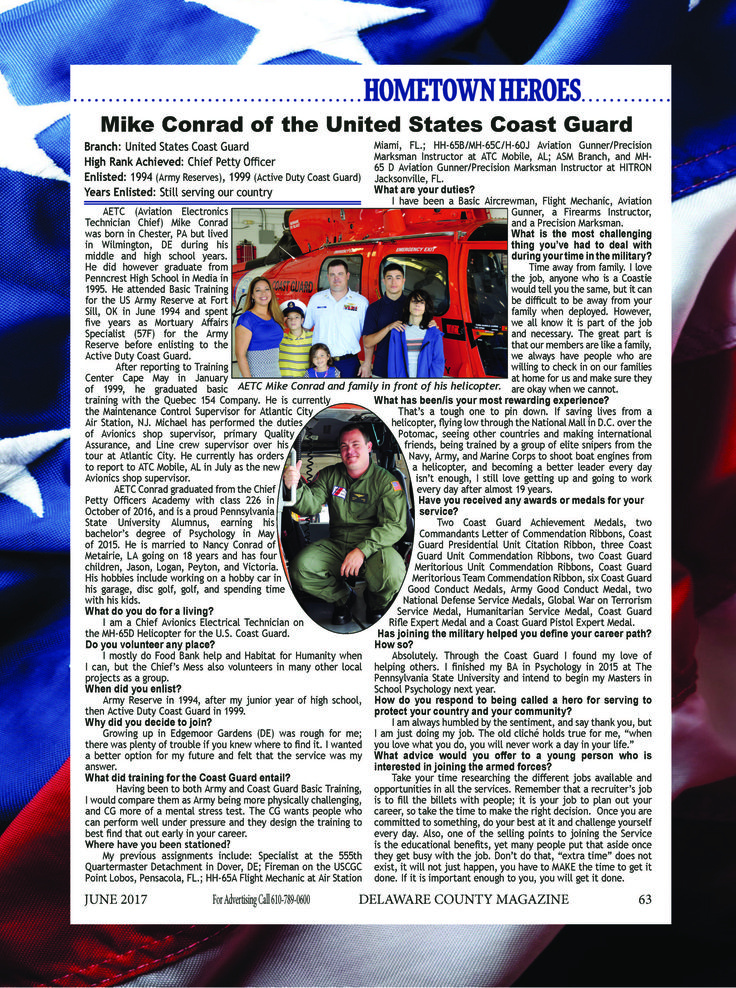 Read about Mike Conrad who serves our country in the US Coast Guard! ,#DelawareCountyPA #CoastGuard #Hero