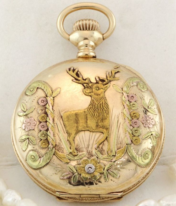 Antique Victorian 14k Tri Gold Elgin Stag With Crest Ladies Pendant Pocket Watch #Elgin