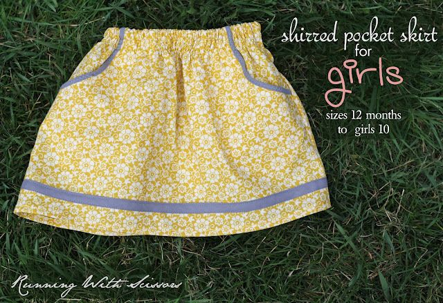 shirred pocket skirt for girls (sizes 12 months to girls 10)