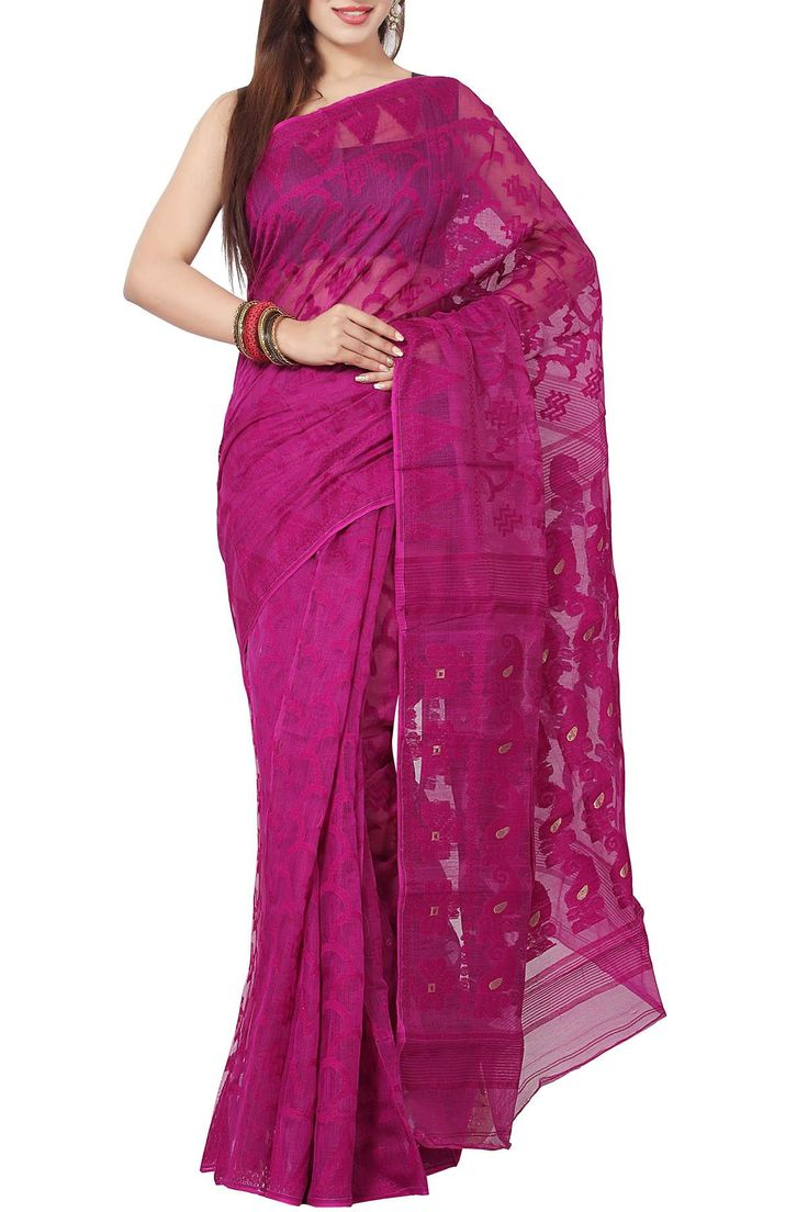 Royal Purple Paisley Dhakai Cotton Jamdani Saree