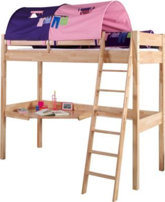 Relita Hochbett Renate, mit Schreibtisch und Tunnel Buche massiv, Stoff lila/rosa Jetzt bestellen unter: https://moebel.ladendirekt.de/kinderzimmer/betten/hochbetten/?uid=73fc0ec3-22c8-5849-970e-cad6ed5fadbe&utm_source=pinterest&utm_medium=pin&utm_campaign=boards #kinderzimmer #kleinkindmöbel #hochbetten #betten