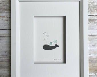 Ciottolo arte balena 8 da 10 PebbleArt da Sharon Nowlan scelta di scatto o senza cornice