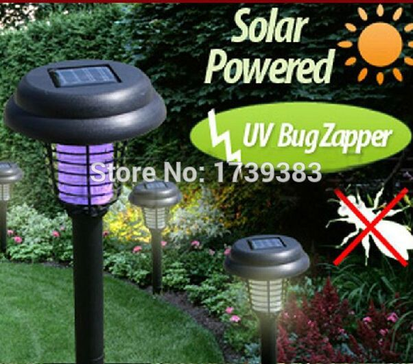 Free Shipping 2015 New Stylish 3in1 Mosquito Insect Zapper Accent Kill Bugs+2 Modes Solar LED Garden Light Lamp