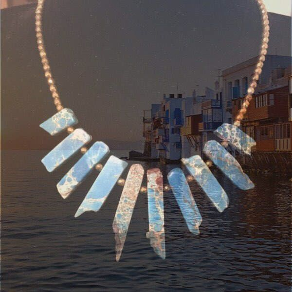 A personal favourite from my Etsy shop https://www.etsy.com/listing/509539936/mykonos-necklace