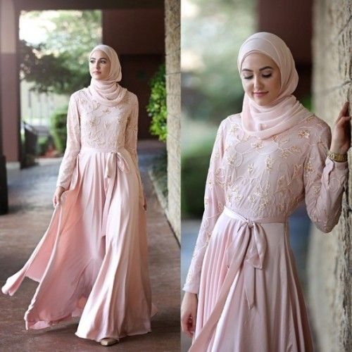 pastel pink maxi dress hijab look