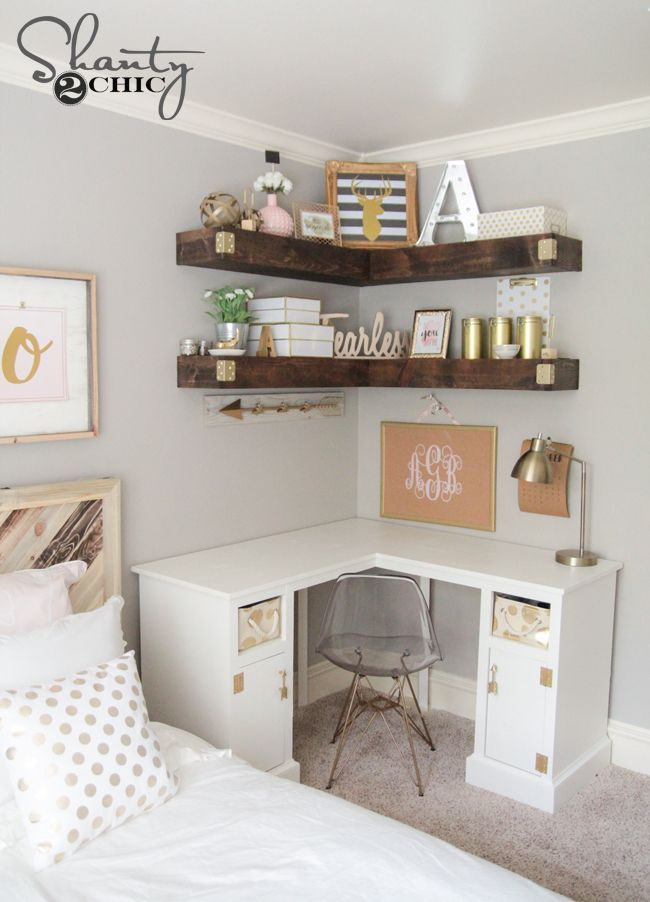 Think double duty!  This is a fun and unique way to save space, by utilizing an empty space in your bedroom to create this chic workspace with custom DIY floating shelves and desk.  Repin and click for the tutorial!