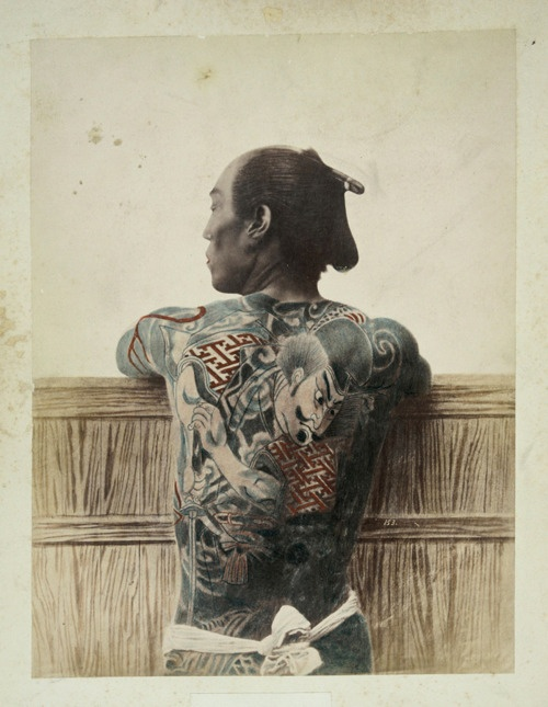 tattoo  //  Japanese tattoo, late 1800s, as depicted by Italian-British photojournalist Felix Beato.