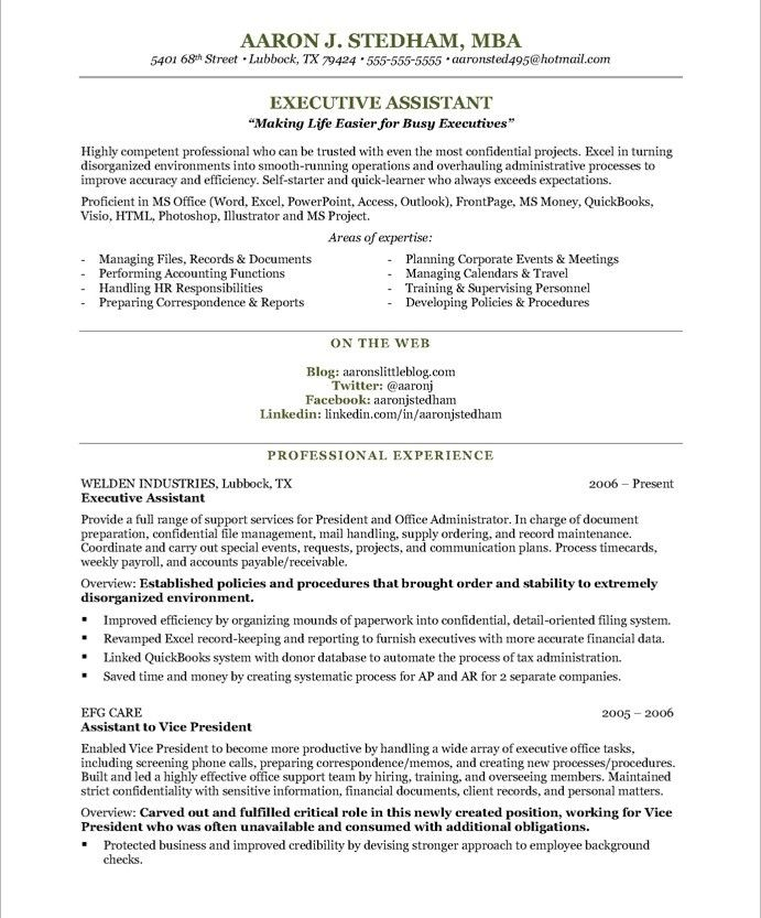 Sample Executive Assistant résumé- I love the layout and it gives me a good idea of what to work on.