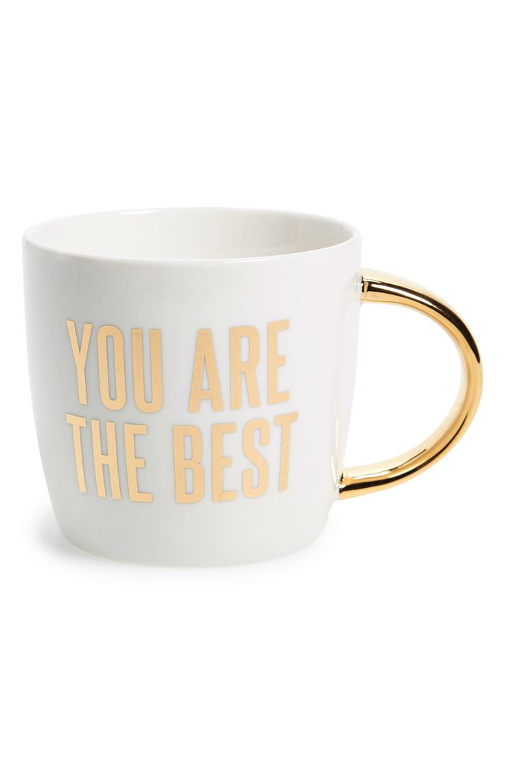 Brightening that special someones morning with this motivational pick-me-up mug featuring gold accents.