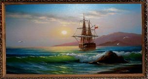 Корабль в море - Морской пейзаж <- Картины маслом <- Картины - Каталог   Универсальный интернет-магазин подарков и сувениров