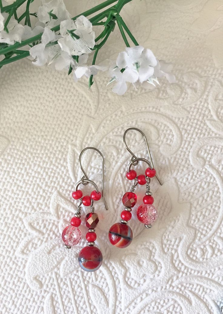 Red dangle earrings, boho style, with stainless steel
