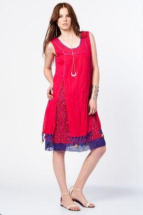 Etnik Esintiler - Kırmızı Elbise 2051 %35 indirimle 129,99TL ile Trendyol da