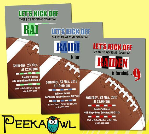 Printable Football birthday invitation Football by PeekaOwl
