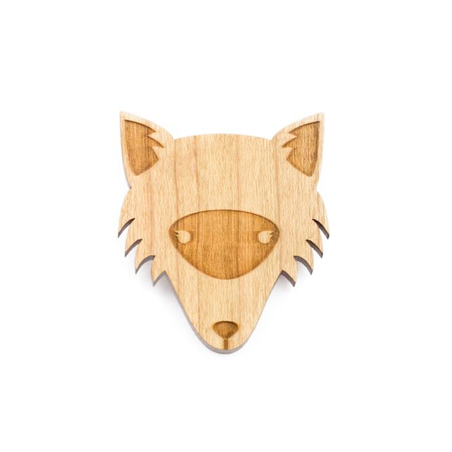 Wooden Fox Forest Brooch nature woodland £12.00
