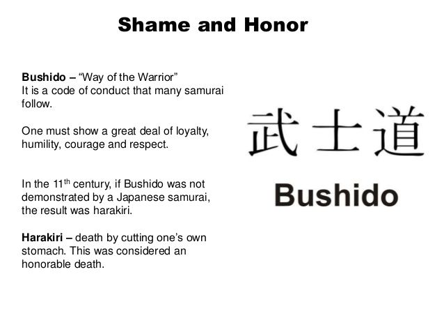 understanding the bushido code of japan Bushido (the way of warrior) is the traditional code of japanese samurai (ancient warriors) according to inazo nitobe (1862 to 1933), the author of the way of warrior: the soul of japan , bushido consists of 8 virtues: rectitude, courage, benevolence, politeness, sincerity, honor, loyalty and self-control.