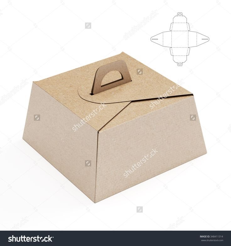 Birthday Cake Box with Handle and Die cut Template