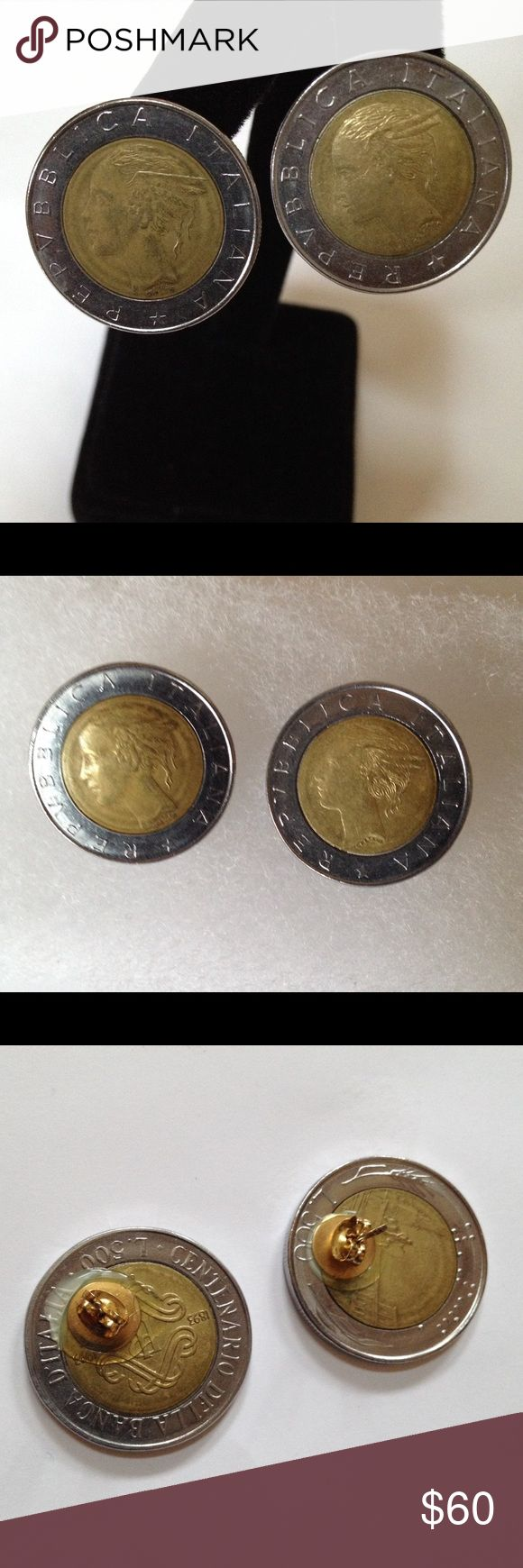 Genuine Lira Coin Italy Earrings Silver Gold Rare Piece of history from Italy. Pre-Euro currency.  No longer in circulation. Genuine Italian Lira Coins made into earrings, gold plated post and backs. Gorgeous on the ear! Jewelry Earrings