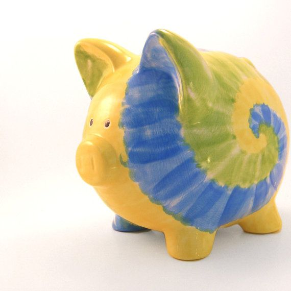 #TieDye Personalized Ceramic #PiggyBank by #ThePigPen, $50.50